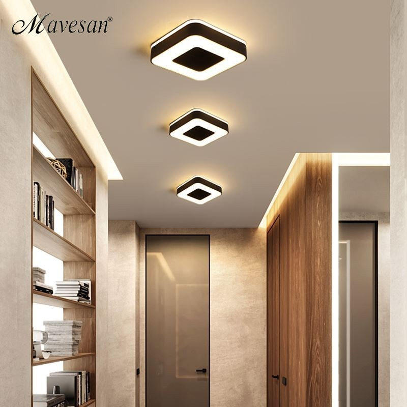 US $37 0 49% OFF|New Design LED Ceiling Light Corridor Art Gallery  Decoration Front Balcony Lamp Porch White Black Lamparas De Techo  Plafondlamp-in