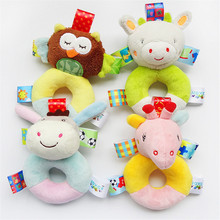 Plush Wrist Rattle Baby Hand Soft Bed Bell 0-24 Months cognitive Enlightenment plush Toy tag animal Chid toys