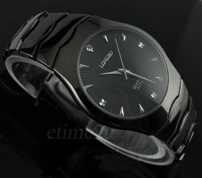 Black Alloy Steel Analog Mens Quartz Watches Classic Dress Watches