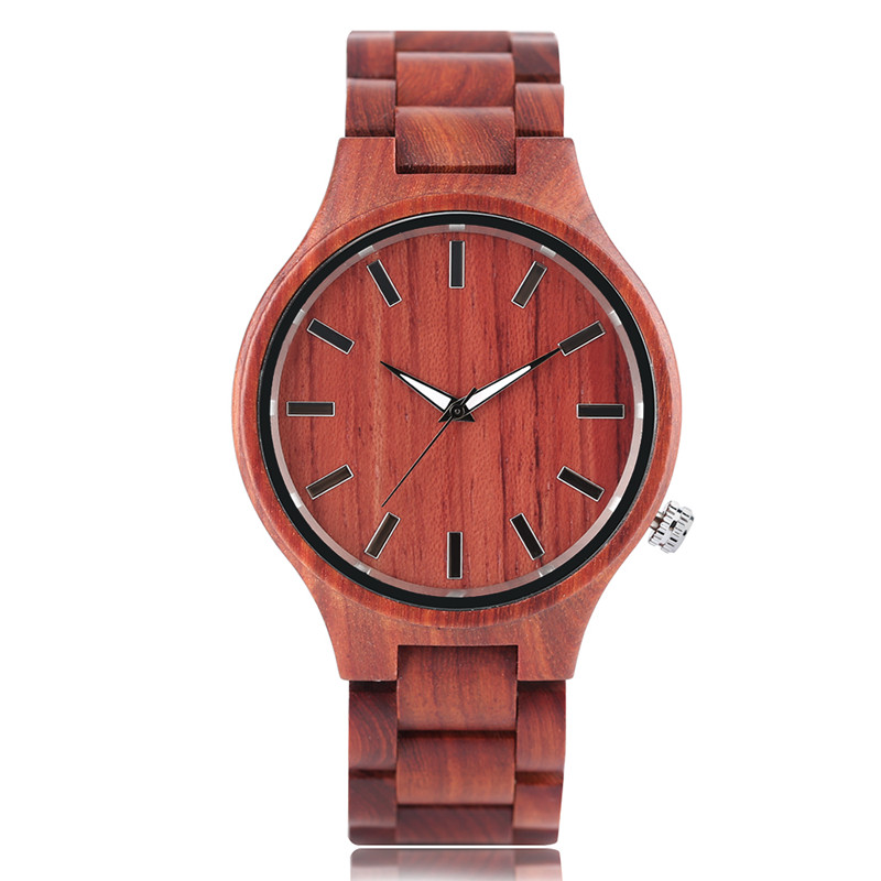 Fashion Mens Watches Nature Red Sandalwood Analog Trendy Bangle Full Wooden Wrist Watch Bamboo Band Fold Clasp Cool Gift Items