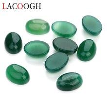 цена Wholesale New Fashion Bulk 10pcs/lot 13*18mm Oval Flat back Green Cabochons Beads Natural Stone Beads for DIY Jewelry Findings онлайн в 2017 году