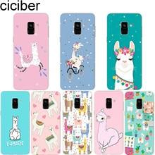 ciciber for Samsung A7 2018 Phone Case Galaxy A5 A6 A8 A9 A3 2017 2016 A6S Plus Star Cover Soft TPU Coque Cute Llama
