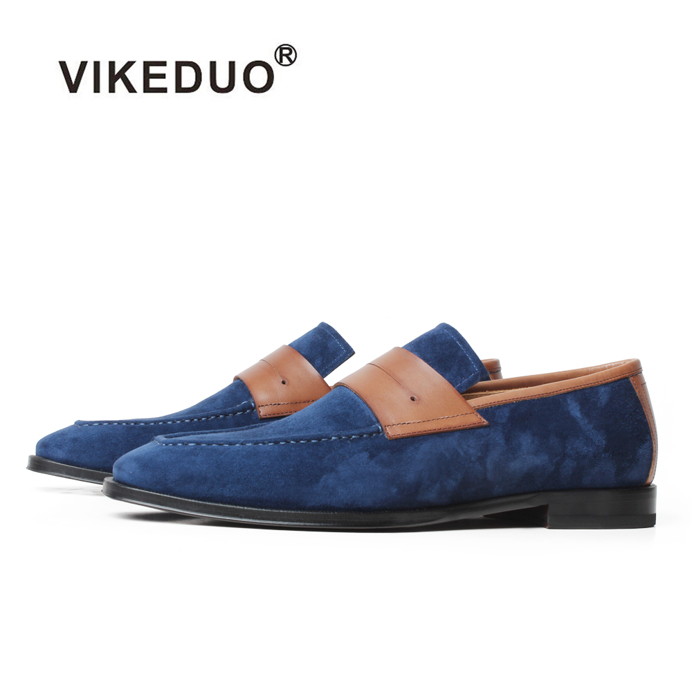 VIKEDUO 2019 New Summer Men's Loafers Shoes Cow   Suede   Footwear Mans Casual Driving Shoes Square   Leather   Luxury Zapatos de Hombre