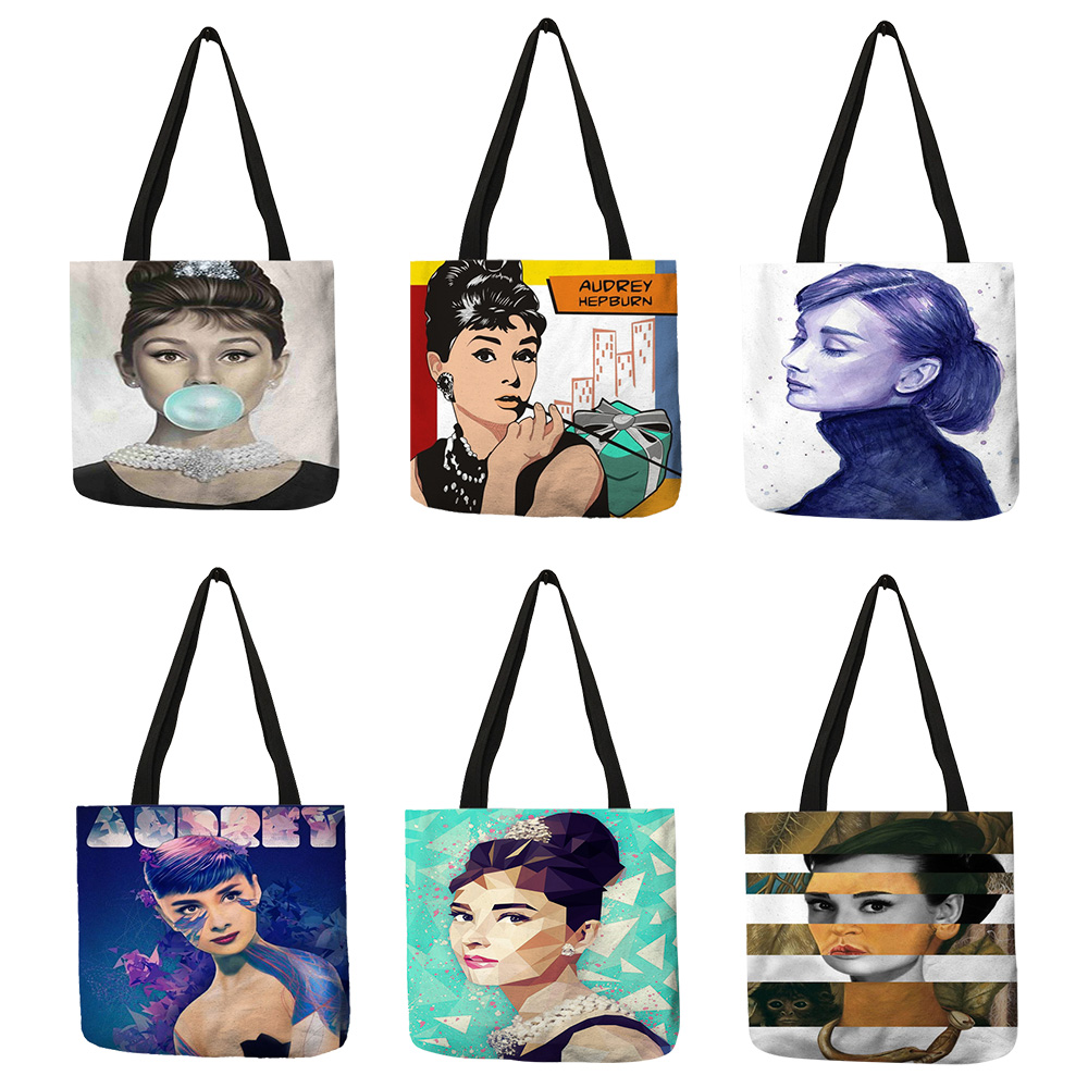 Unique Customize Tote Bag Eco Linen Bags With Audrey Hepburn Print Reusable Shopping Bags Fashion Handbag Totes For Women