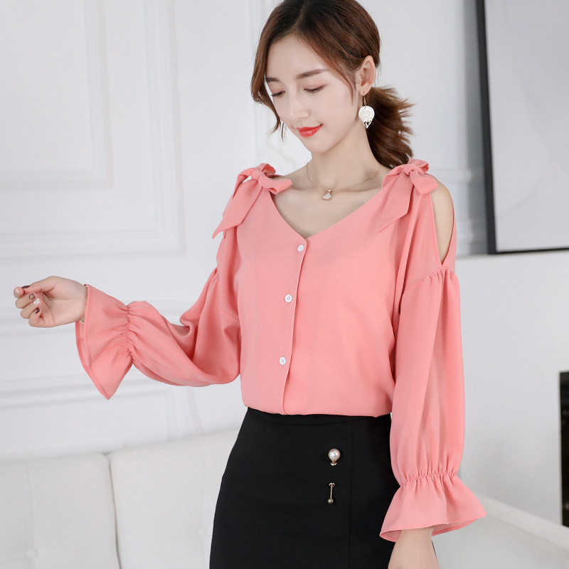 2019 New Spring Summer Shirts Women Blouses Casual Bow Long Sleeve Off Shoulder Blouse Ladies Button Ruffle Office Shirt Blusas