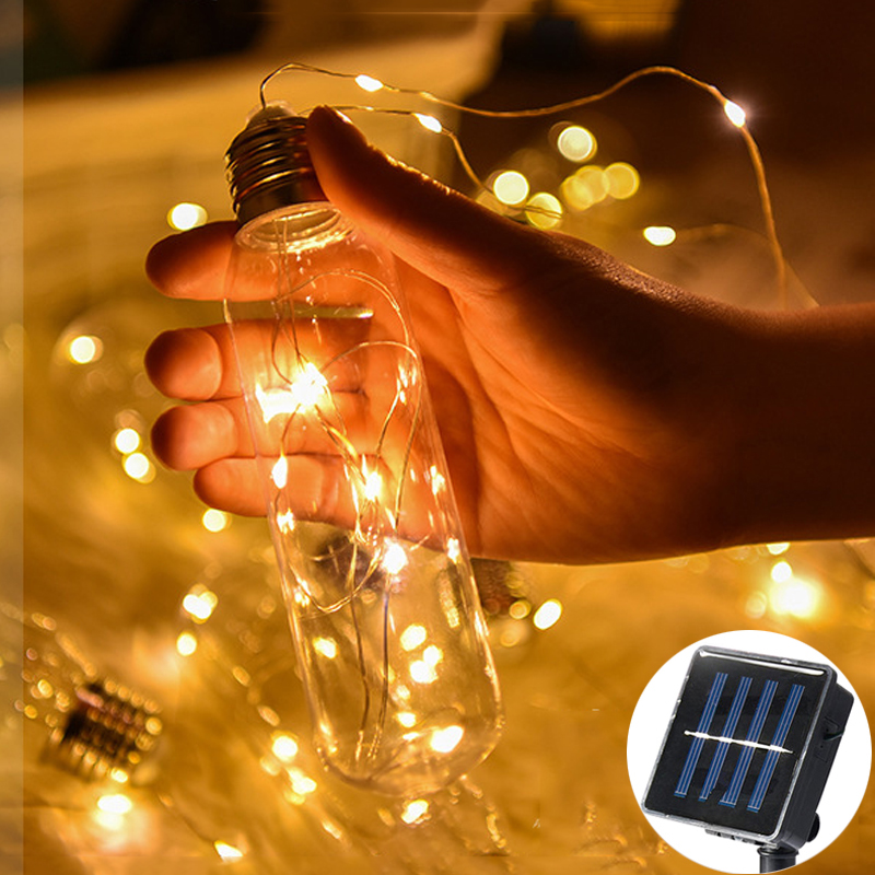 100LED Fairy Big Transparent Bulb Copper Wire Solar Power String Lights 3M LED Decoration For Christmas luces led guirnalda|Solar Lamps| |  - title=