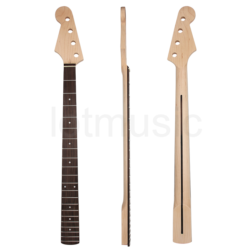 Maple Bass Neck Left Handed Rosewood Fingerboard 21 Fret Frets For Maple Jazz Bass Guitar Neck Replacement Parts White Dot Inlay fretboard markers inlay sticker decals for guitar bass space invaders white pear color