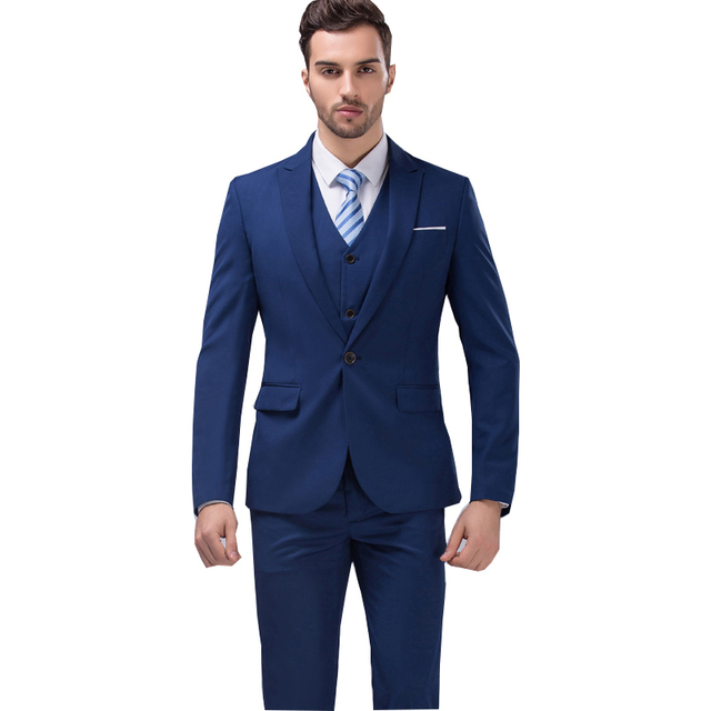 2018 Famous Brand Mens Suits Wedding Groom 3 Pieces Jacket Vest Pant