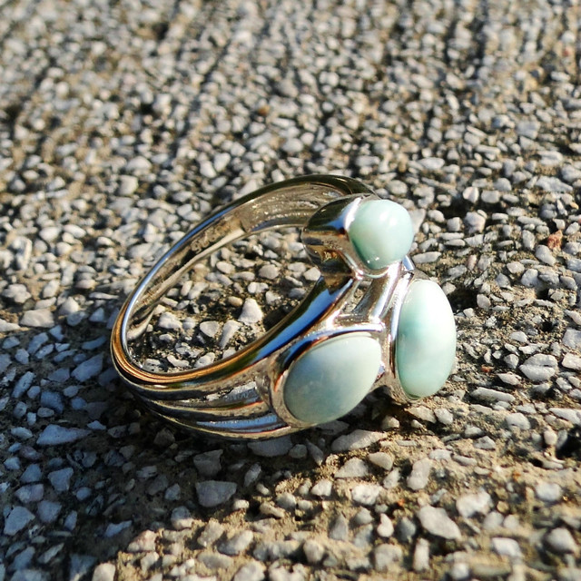 DJ CH Genuine Larimar Branch Leaf Ring Rhodium on 925 Sterling Silver Stefilia's Stone Genstone Rings Wedding Engagement Bands