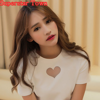 T Shirts Women Sexy Mesh Heart T Shirt Mori Girl Harajuku Shirt Summer Style Lovely Short