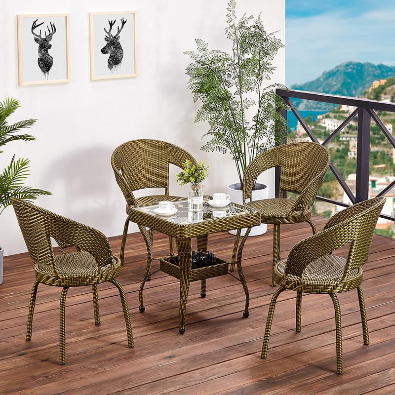 Wicker chair three-piece balcony small coffee table outdoor table and chair combination simple courtyard leisure outdoor chair