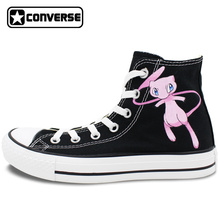Sneakers Converse Chuck Taylor Black Pokemon Shoes Mewtwo Design Hand Painted Shoes Women Man High Top Sneakers Christmas Gifts