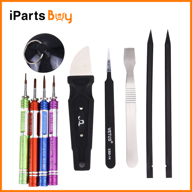 iPartsBuy for iPhone 7/7 Plus 10 in 1 Appropriative Professional Screwdriver Repair Open Tool Kit with Roll Leather