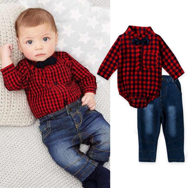 Conjunto de ropa para bebé y niño, conjunto de ropa para recién nacido, camiseta + Pantalones vaqueros para niños, cuello vuelto, corbata de caballero, entramado rojo trajes