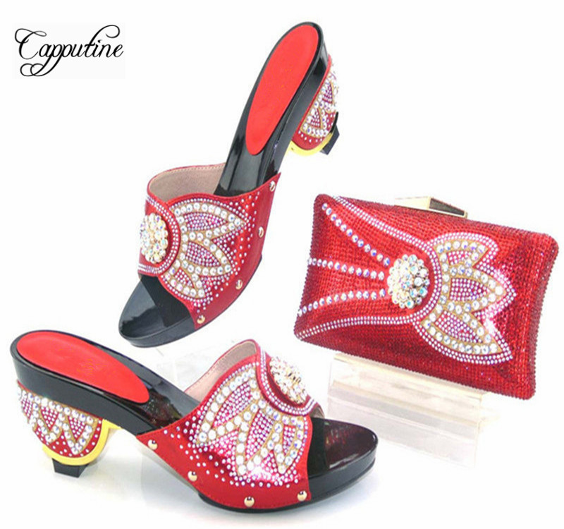 Capputine New Africa Fashion Woman Shoes And Purse Set For Party Nigeria Rhinestone High Heels Shoes And Bag Set TYS17-40 capputine new arrival woman shoes and bag set nigerian design high heels shoes and bag sets for party free shipping bch 40