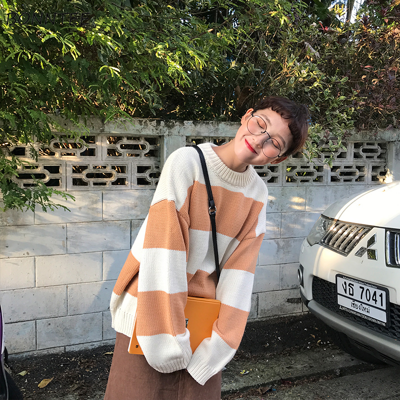 Pullovers Women Wide Striped O-Neck Loose Harajuku Korean Style Streetwear Sweater Top Womens Pullover Jumper High Quality Chic