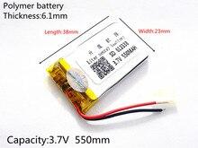 Free shipping Polymer battery 550 mah 3.7 V 612338 smart home MP3 speakers Li-ion battery for dvr,GPS,mp3,mp4,cell phone,speaker
