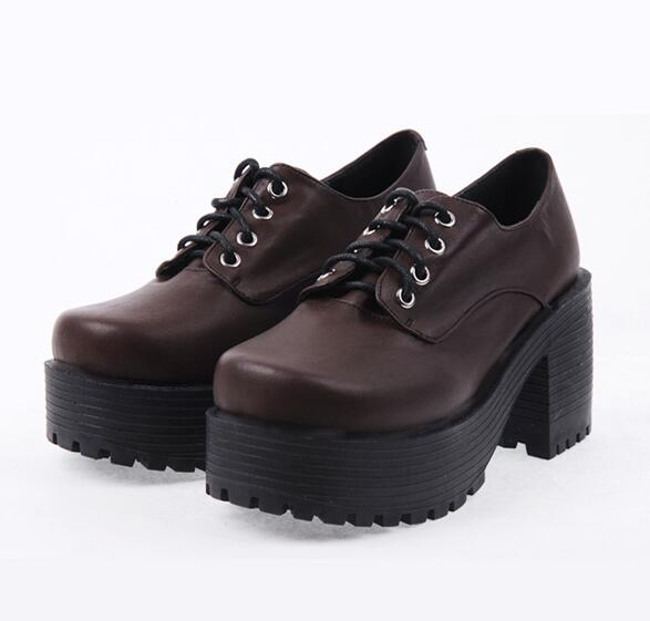 Brown Punk Lace up Oxfords Vegan Leather with Short Block Heel and Chunky Treaded Soles