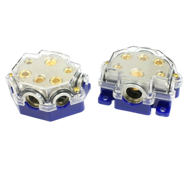 X autohaux 2 unids blue car audio de 5 vías portafusibles bloque de la distribuidora de energía