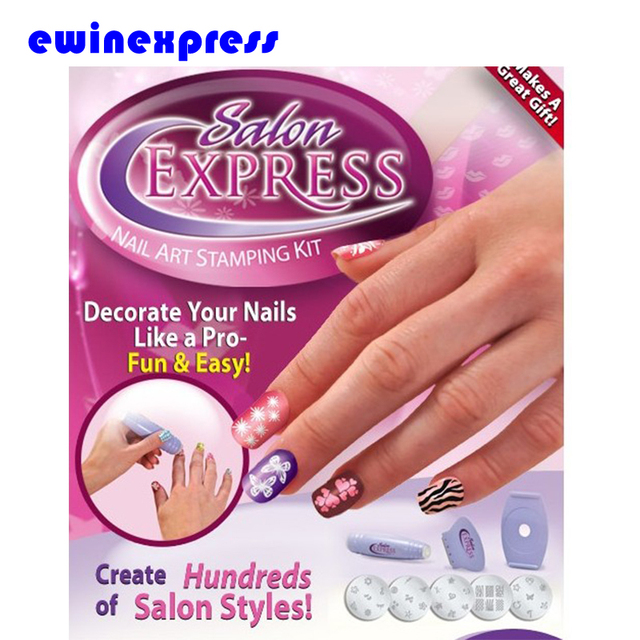 Salon Express Nail Art Stamping Kit For Manicure Nail Polish