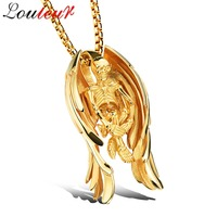 LOULEUR 2017 Gold Color Chain Stainless Steel Skull Necklace For Men Hip Hop Punk Wing Pendant