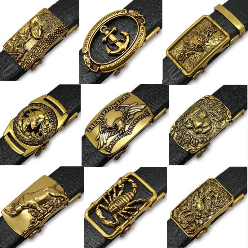 Retro Golden Faucet Belt Men Buckle Jeans Belt Automatically Belt Buckles For Men Buckle Strap For Jeans Men's Belts Luxury