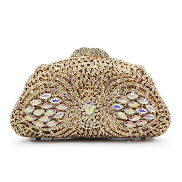 cce1be58e1 Gift Box GOLD Colors Crystal Metal Clutches Hard Case Bridal Evening Clutch  Bag Wedding Diamonds Rhinestones Handbag(88213-GG)