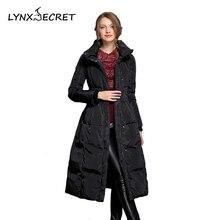 Women's winter duck down jacket Black elegant long dress Skirt style Adjustable belt Bow Warm stand collar thick parkas zippers