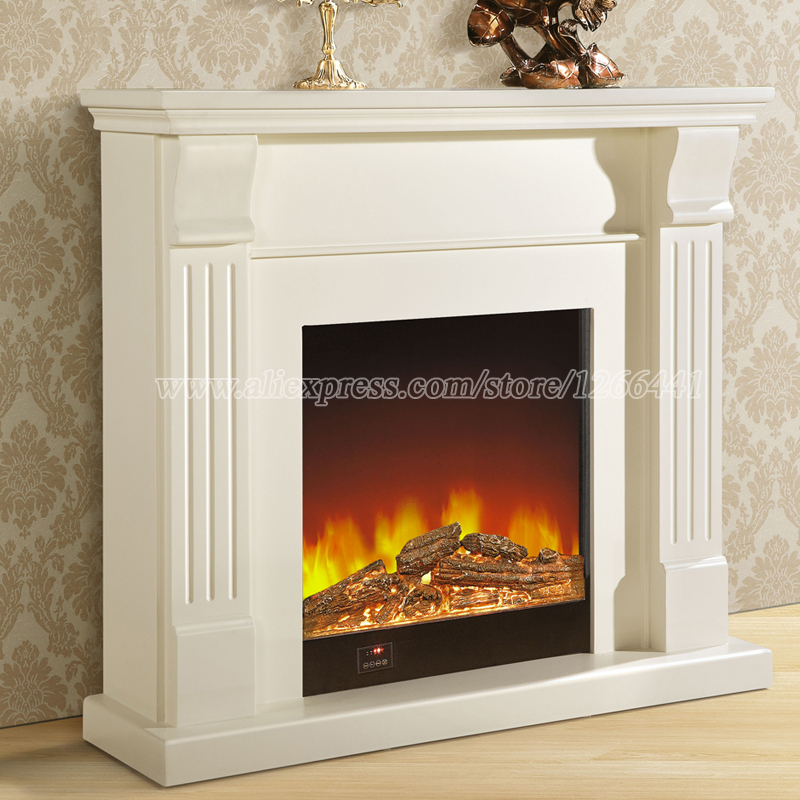 European Style Fireplace Set Wooden Mantel W120cm Electric