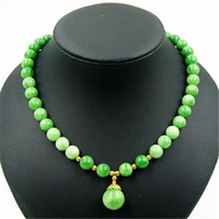 Vintage Classic Natural Stone Jewelry Elegant Apple Green Jade Gems Beaded Chain Choker Necklace With Pendant
