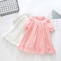 2018 New Retail Summer Short Sleeves Girl Dress Children Kids Beautiful Party Dress Girl Cotton Pageant