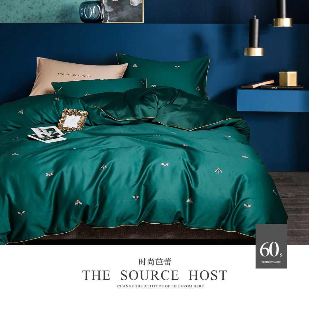No.51-60 темно-зеленый комплект постельного белья с пчелами набор пододеяльников 4 шт. 100% хлопок сатин постельное белье двойной queen king размер постельное белье
