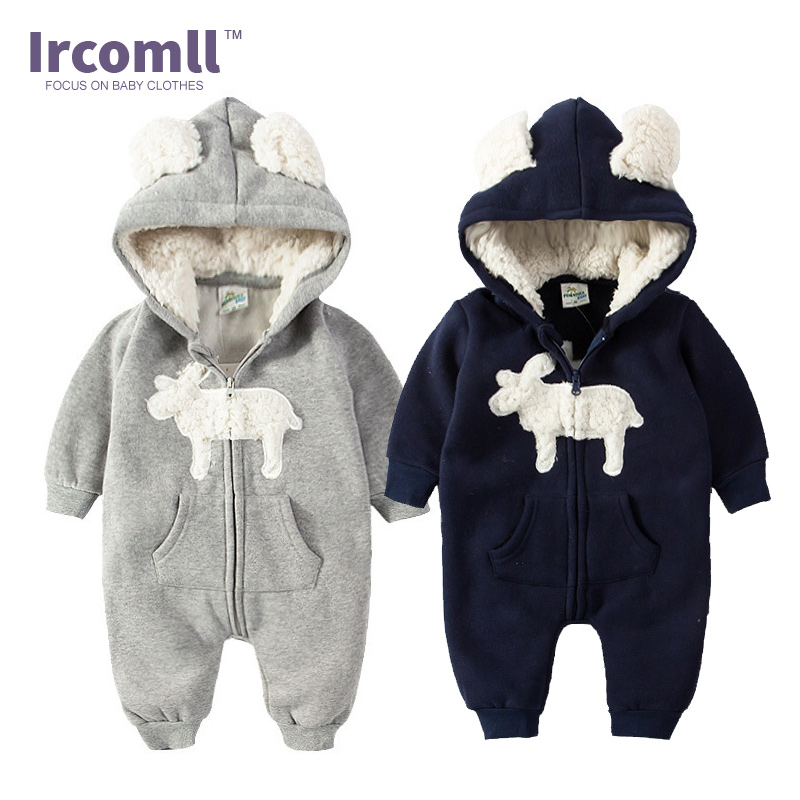 Autumn Winter Newborn Baby Lucky Rompers Thick Warm Hooded Lining Berber Fleece Kid Jumpsuit Boy Girls Clothes Toddler Outerwear autumn baby rompers brand ropa bebe autumn newborn babies infantial 0 12 m baby girls boy clothes jumpsuit romper baby clothing