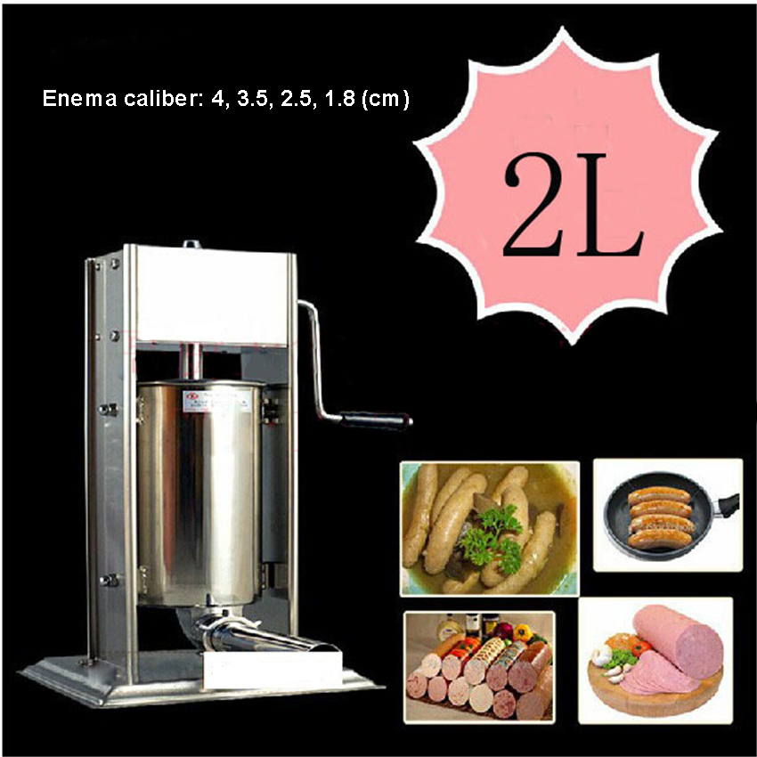 2L hand operated home sausage meat stuffer stainless steel manual vertical sausage filling machine kitchen tool ship from germany 5l stuffer maker machine commercial sausage filling machine sausage stainless steel with 4 filling pipes