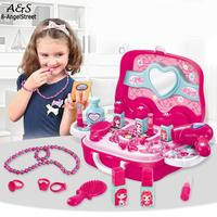 800g Play Pretend Princess 3 Makeup Toys Dressing Set Pink Table Pretend Girls Cosmetic Toy