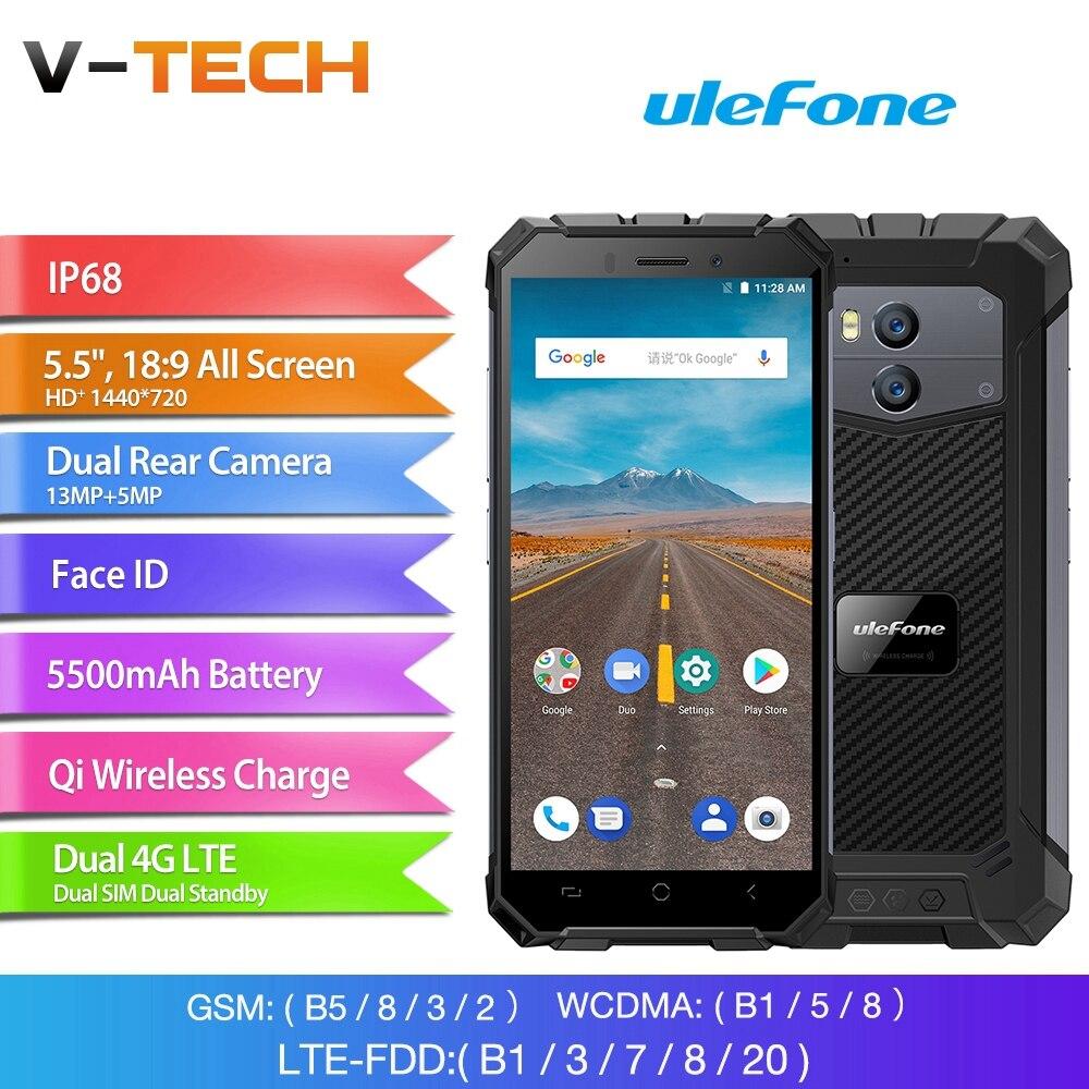 Ulefone Armor X Waterproof IP68 Smartphone 5.5 HD Quad Core Android 8.1 2GB+16GB 13MP NFC Face ID 5500mAh Wireless Charge Phone