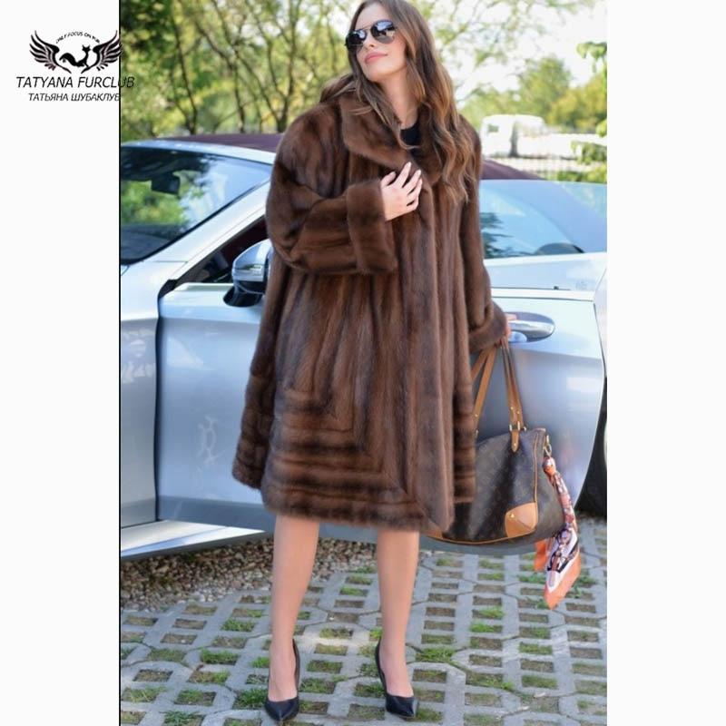 Tatyana Furclub piel Real Natural de piel de visón abrigo solapa chaqueta de piel marrón mujeres invierno abrigos de lujo chaqueta de visón abrigo de piel