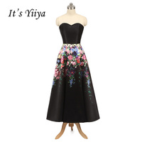 It S YiiYa Black Floral Print A Line Draped Strapless Tea Length Bride Dresses Lace Up
