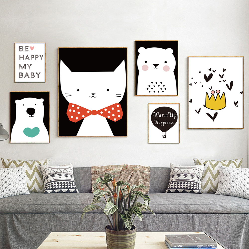 ∞Modern Minimalist Nordic Black White Lovely Animals A4 Art Prints ...