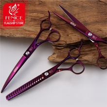 Fenice Professional Pet Grooming Scissors Set Purple Curved+Thinning+Cutting Shears Kit for Dog 6 5 inch purple dragon dog grooming cutting curved thinning scissors case safety rounded serrated tip pets shears set