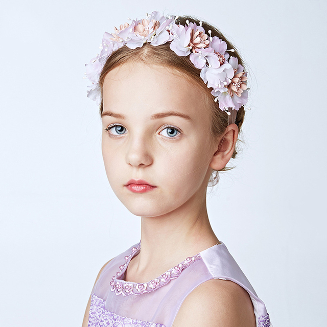Lovely Girls Pink Flower Headband for Dress Party Artificial Flowers Girl  Wreath Garland Ribbon Hairband Hair Ornament Headdress 13f63c861df