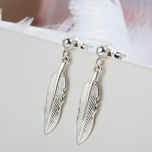 SA SILVERAGE Real 925 Sterling Silver Drop Earrings Fine Jewelry For Women Long Feather Tassel 2017 Hot Sale