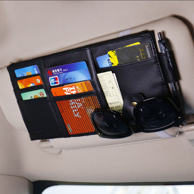 Car Visor Card Storage Sun Visor Organizer Tool Pouch for Land Rover LR2 LR4 Range Rover Evoque Defender Discovery Freelande|Stowing Tidying| |  - title=