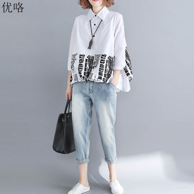 2221a671d0 2019 Summer Korean Abstract Print Women Blouse Shirt Plus Size Lapel White  Shirt Vintage Ladies Tops