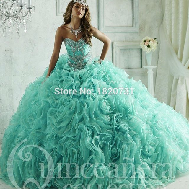 fe1a136edfb Mint Green 2 Piece Quinceanera Dresses Detachable Skirts Ruffled Organza  Beads Sweet 16 Ball Gowns Masquerade Dress for 15 years