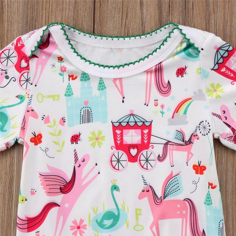 b1ffc95f5 Baby Girls Unicorn Printed Romper 2018 Summer Infant Baby Girl Short ...
