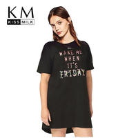 Kissmilk 2017 Plus Size Women Clothing Casual Letter Printing Front T Shirt Long Style Brief Fashion