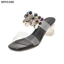 NEMAONE  Women Slippers princess's glass slipper Transparent High Heels single party wedding Shoes Clear Heel Sandals Size 34-48