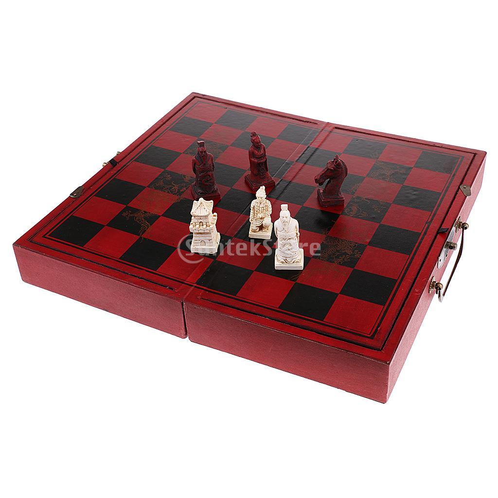 High-end Chinese Style Chess Wooden Folding Chessboard Terracotta Warriors Pieces Set Collectibles Souvenir Handicraft Gift цены