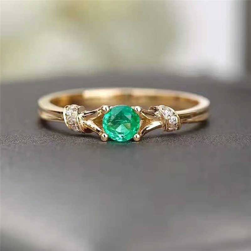Gold-Color Luxury Green Round Crystal Rhinestone Cubic Zirconia Thin Chic Rings For Women Wedding Party  Ring Jewelry Z4